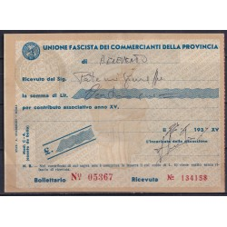 1937 RICEVUTA UNIONE...