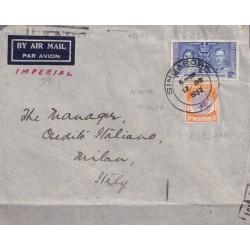 1937 SINGAPORE PERFIN AEREA...